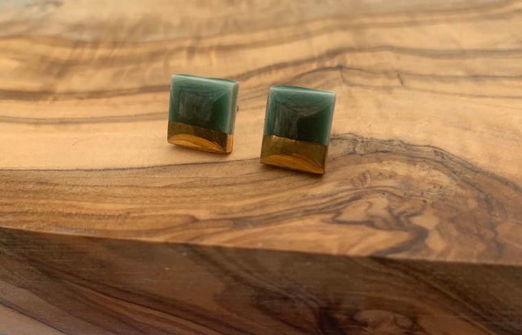 Green Square Earrings-1