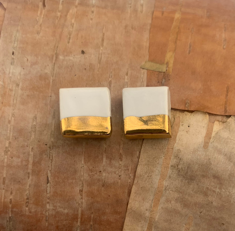White Square Earrings-1