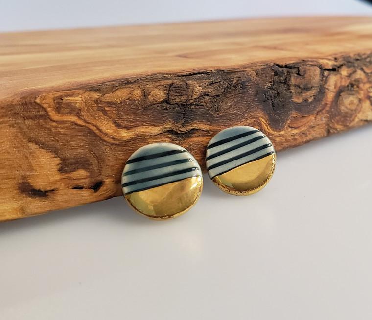 Grey Stripe Earrings-1