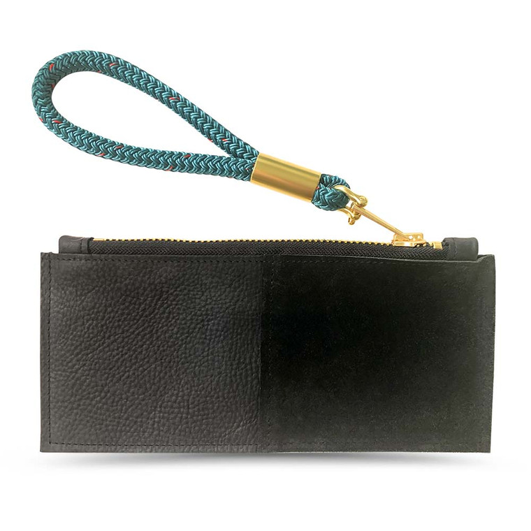 Teal Leather Wristlet