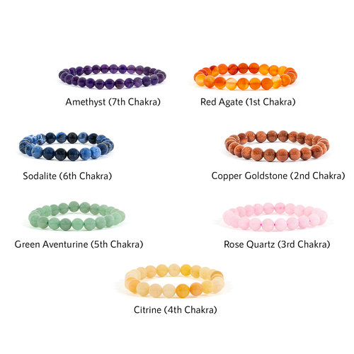 7 Chakras Gemstone Bracelet (Round Bead)