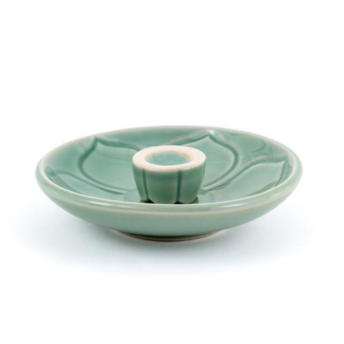Green Lotus Leaf Incense Holder (1 Hole)