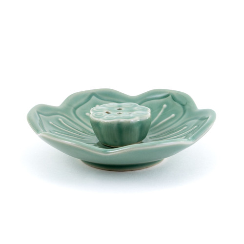 Green Lotus Leaf Incense Holder (5 holes)