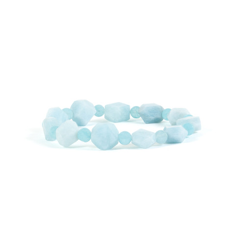 Aquamarine Bracelet - Nugget & Round Beads
