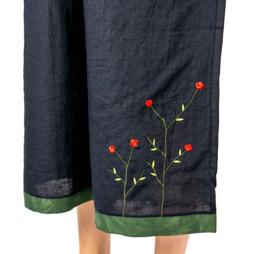 Women's Cropped Floral Linen Pants