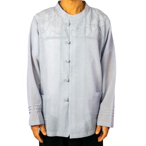 Long Sleeve Embroidered Tai Chi Uniform Shirt (Unisex)