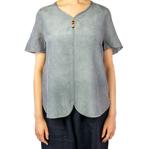 Women's Short-Sleeve Scalloped Hem Top