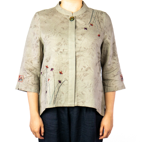 Women's All Over Floral Linen Top