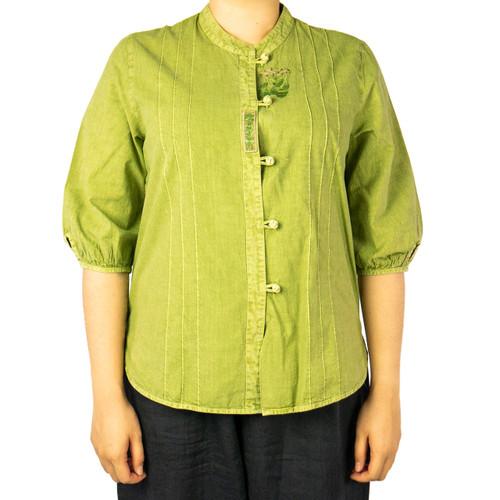 Women's Peeking Flower Cotton Shirt