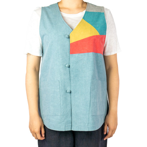 Asymmetrical Color Block Cotton Vest (Unisex)