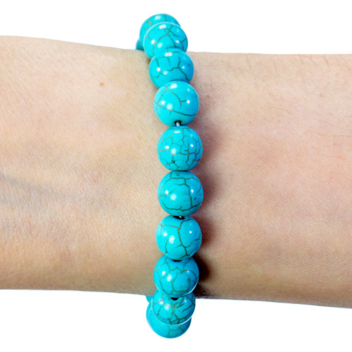 Turquoise Bracelet - 8mm Round Bead