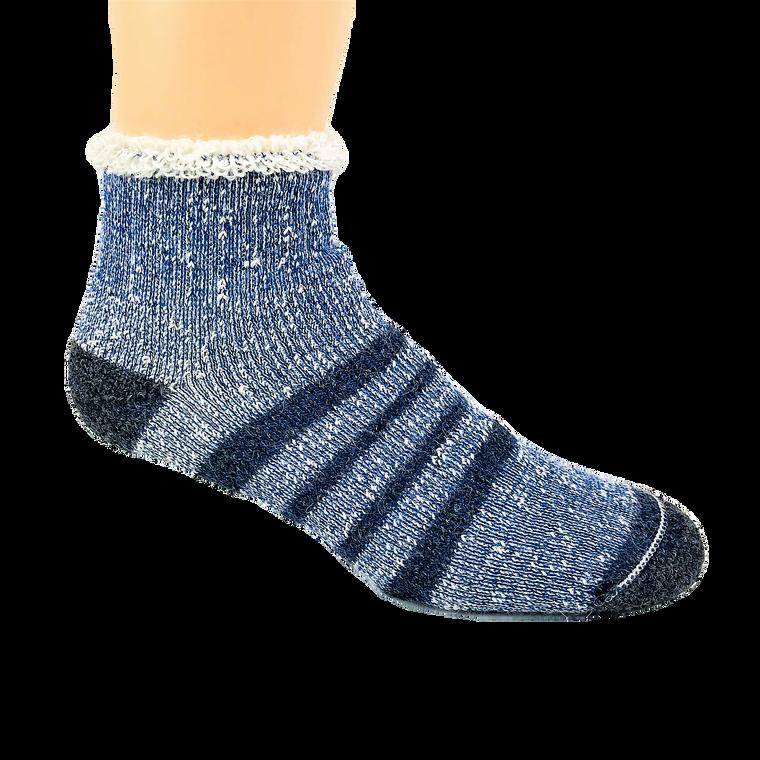 Thermal Alpaca Slipper Sock - Blue Stripe: Made in Canada
