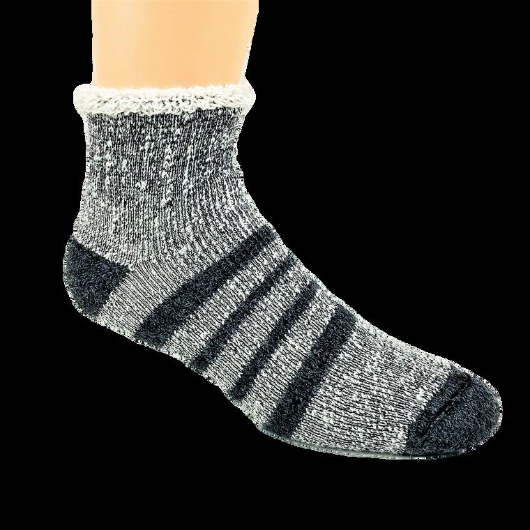 Thermal Alpaca Slipper Sock - Grey Stripe: Made in Canada