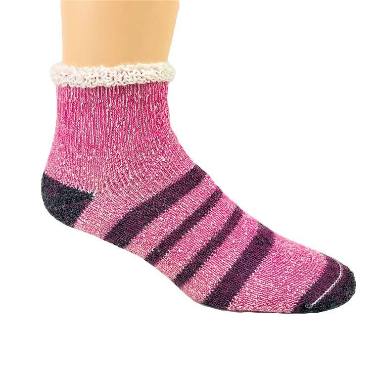 Thermal Alpaca Slipper Sock - Pink Stripe: Made in Canada