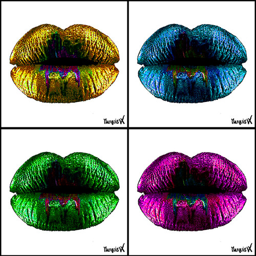 """4 Color Lips #3"" White Background - Decorative Art Coaster Set."