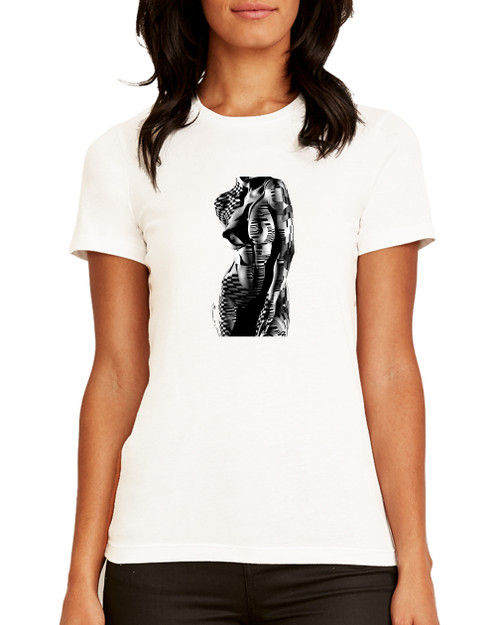 B/W PIANO  - FEMALE T-SHIRT. BLACK or WHITE.  Super Soft 100 % Cotton. IN STOCK -           FREE SHIPPING.