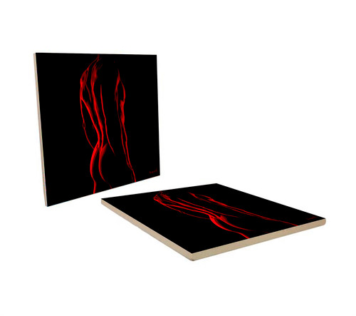 """RED SPARDACUS"" DECORATIVE ART COASTER."