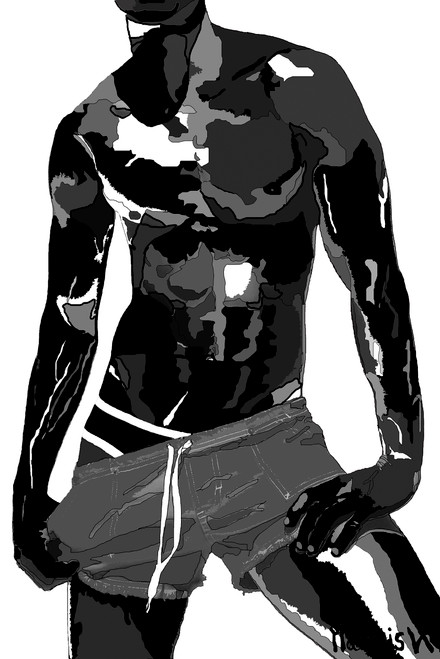"""""""DAVID - B/W - WHITE BACKGROUND"""" LIMITED EDITION SERIES PAINTING. - SIZE: 32"""" x 48"""" - FREE SHIPPING (USA)."""