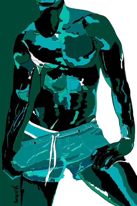"""""""DAVID - TEAL - TEAL/WHITE BACKGROUND"""" LIMITED EDITION SERIES PAINTING. - SIZE: 24"""" x 36"""" - FREE SHIPPING (USA)."""