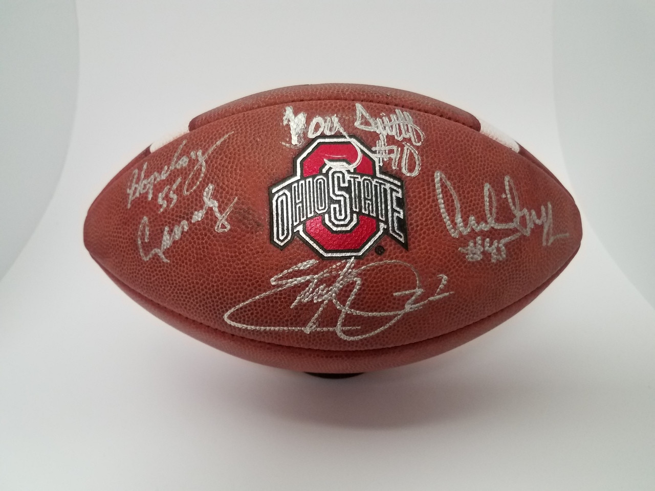 Ohio State Buckeyes Heisman Trophy Winners Autographed Authentic OSU Buckeyes Leather Game Football - Signed by Howard Cassady, Archie Griffin, Eddie George, Troy Smith - Certified Authentic