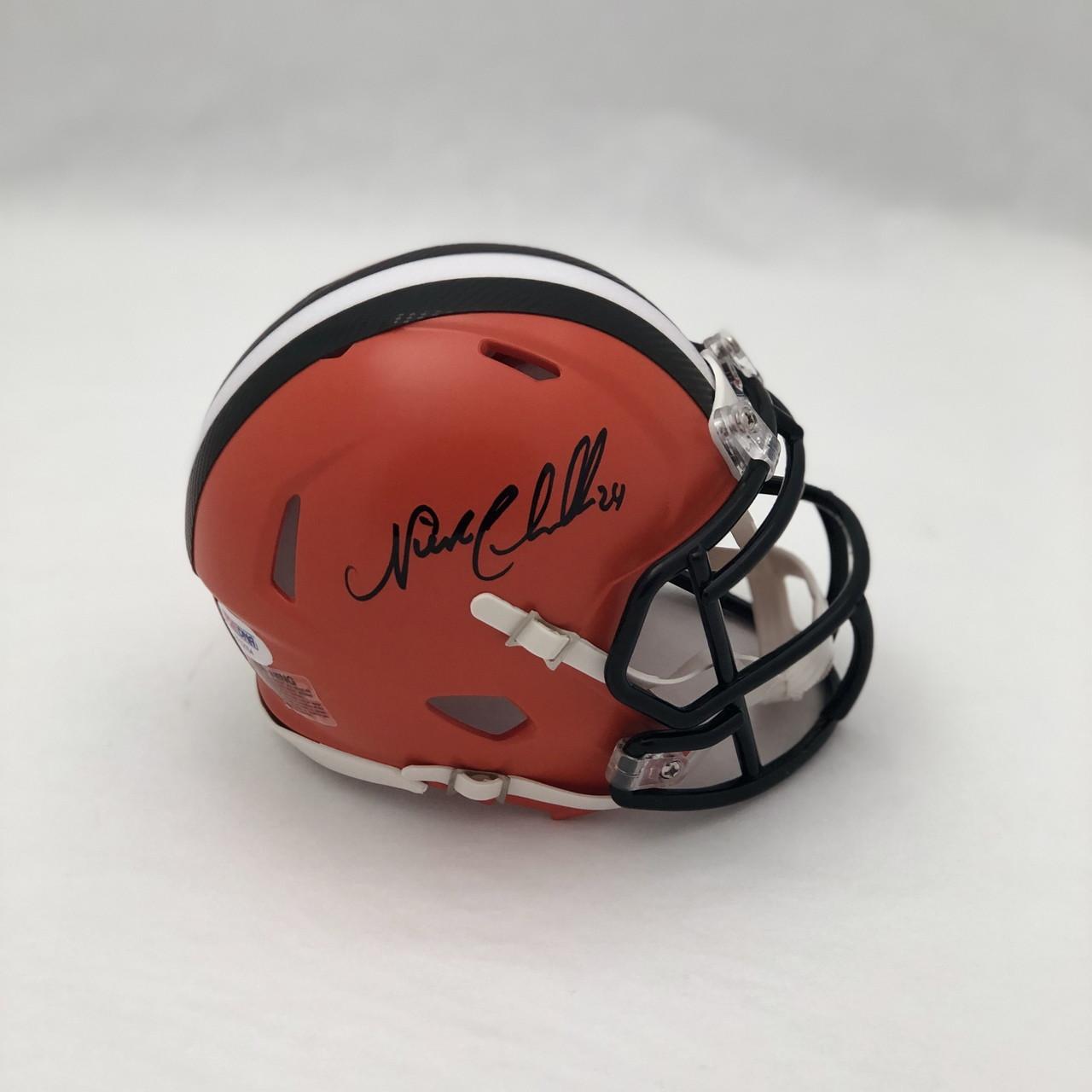 reputable site c8b65 839eb Nick Chubb Cleveland Browns Autographed Mini Helmet - PSA Authentic
