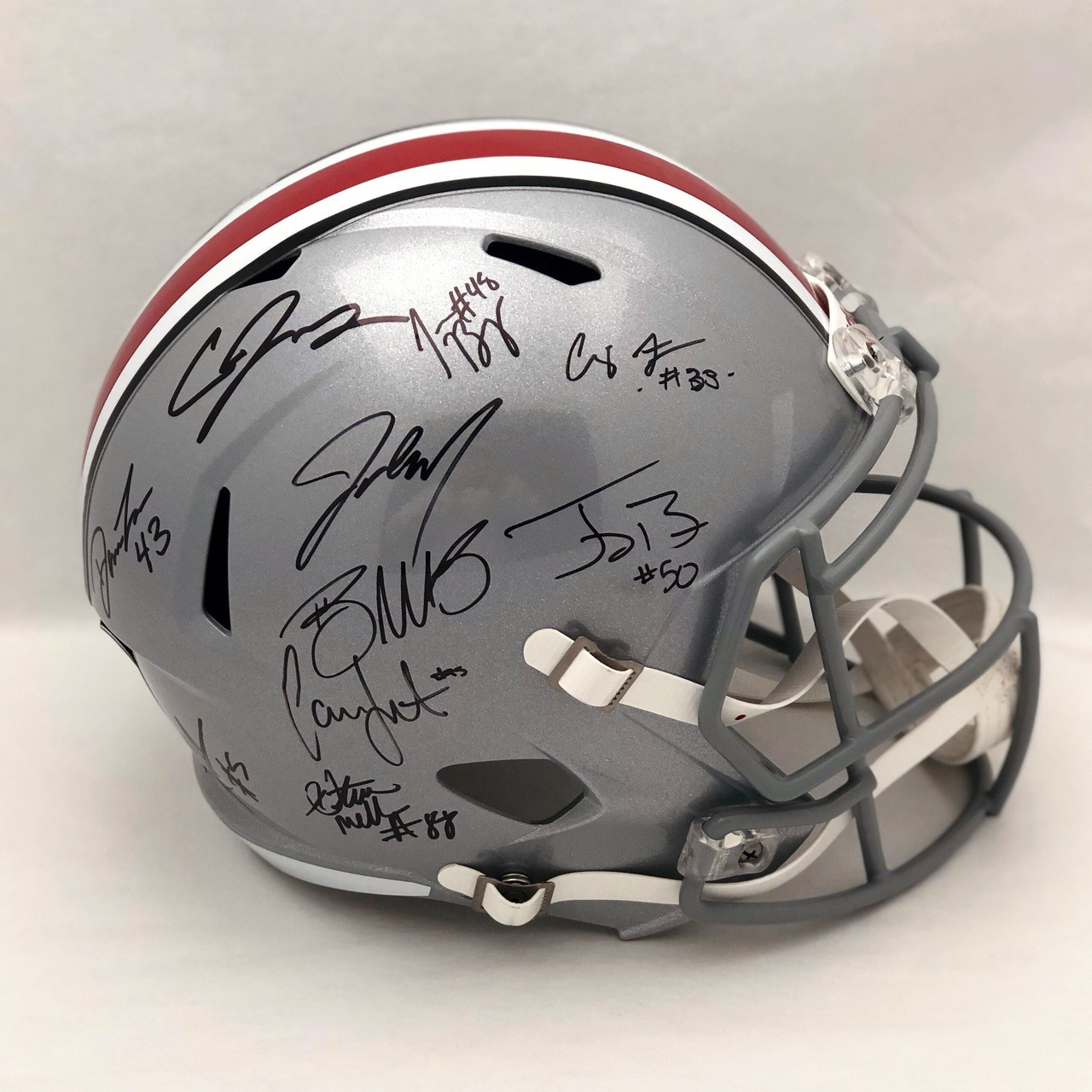 2014 National Championship OSU Silver Autographed Replica Helmet - Certified Authentic