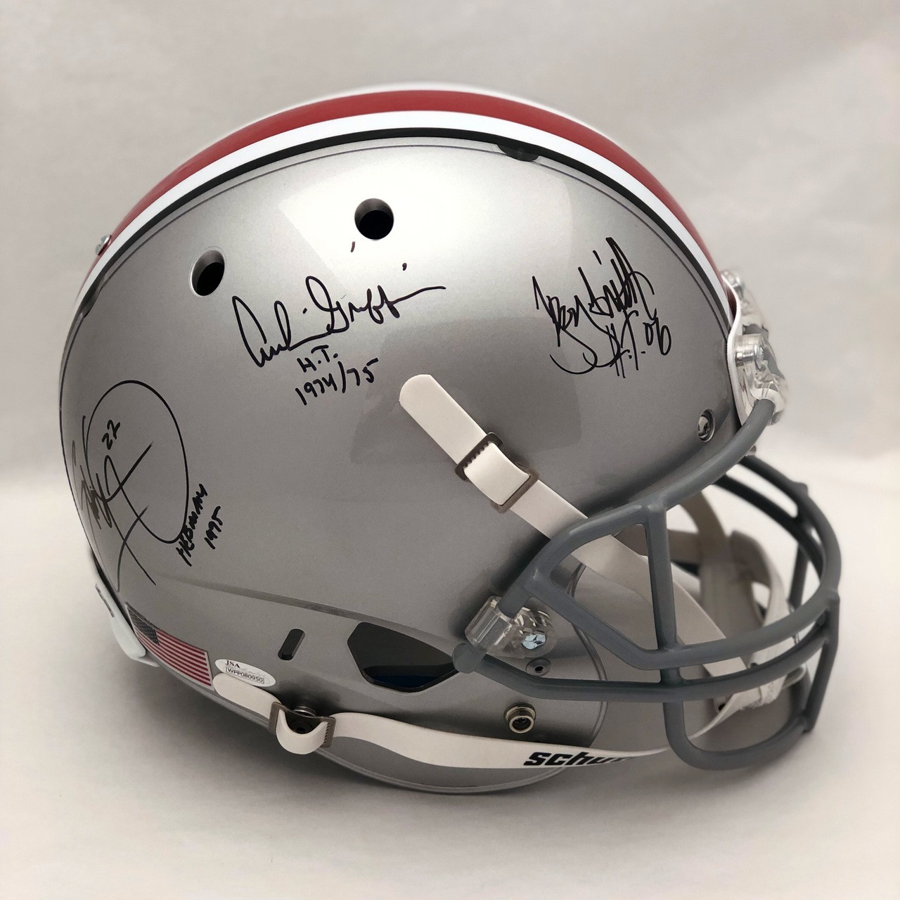 3 Heisman OSU Autographed Schutt Replica Helmet - Certified Authentic