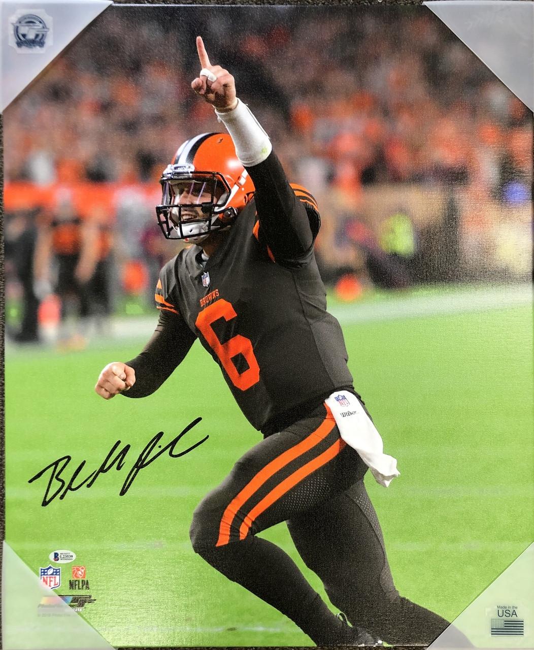 Baker Mayfield Cleveland Browns 20x24 Autographed Canvas 1 - Beckett COA