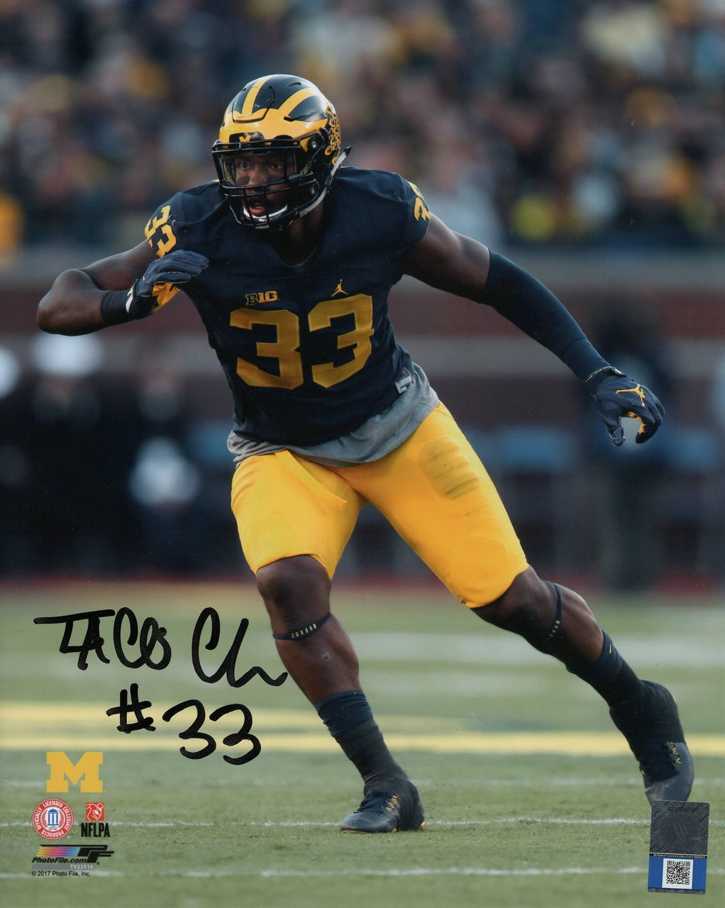 Taco Charlton Michigan Wolverines 8-4 8x10 Autographed Photo - Certified Authentic