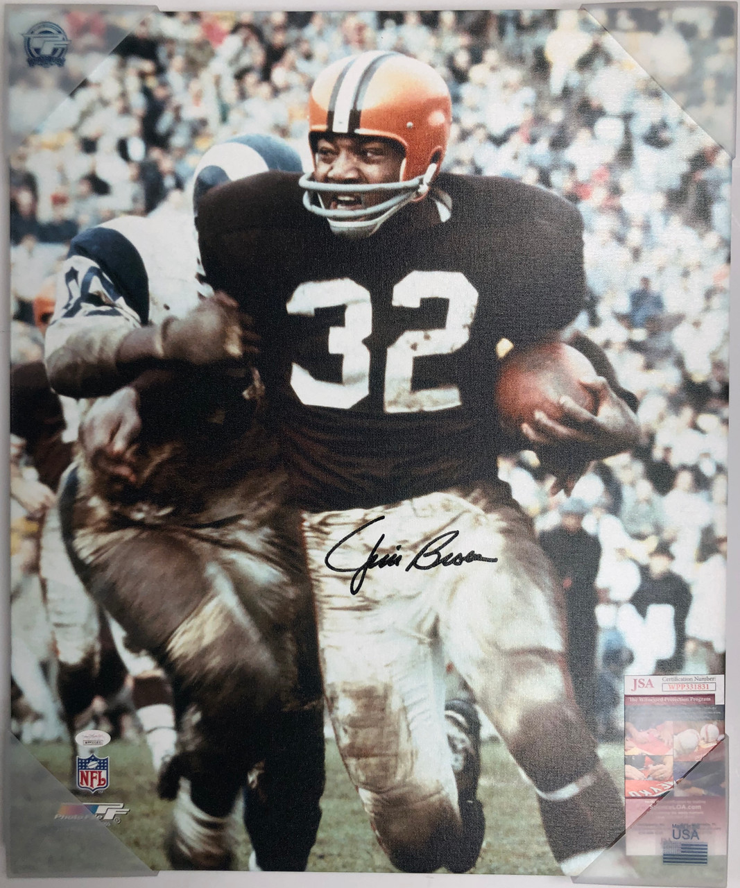 Jim Brown Cleveland Browns 20x24 Autographed Canvas - Certified Authentic