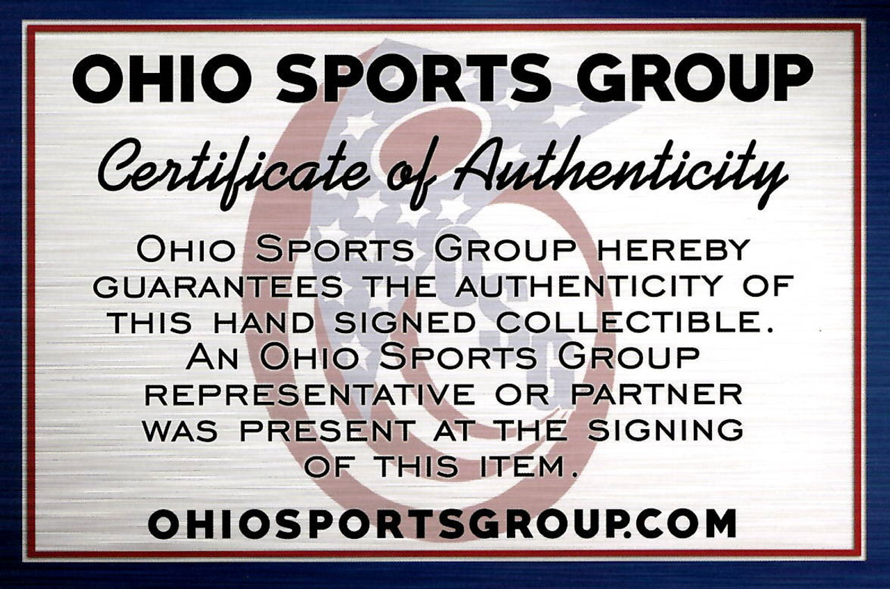 3 Heisman Trophy Winners Ohio State Buckeyes Autographed Mini Helmet - Signed by Archie Griffin, Eddie George, Troy Smith - Certified Authentic