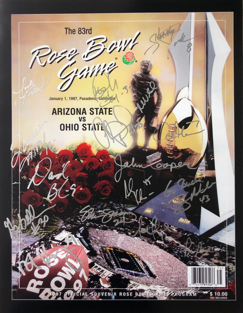 1997 Rose Bowl Game Program Ohio State Buckeyes 16x20 Autographed Photo - Certified Authentic