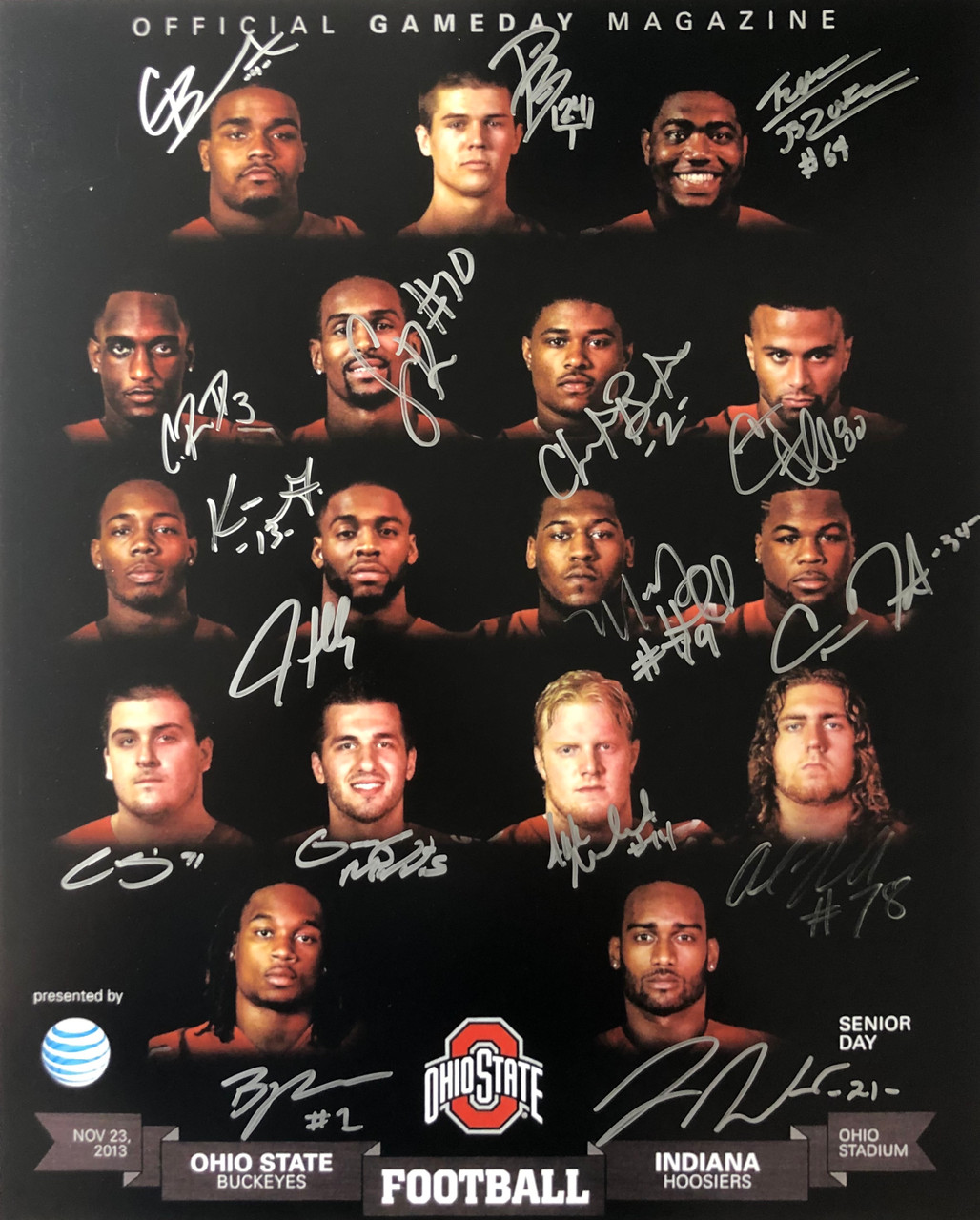 2013 Ohio State Buckeyes vs Indiana Game Program 16x20 Autographed Photo - Certified Authentic