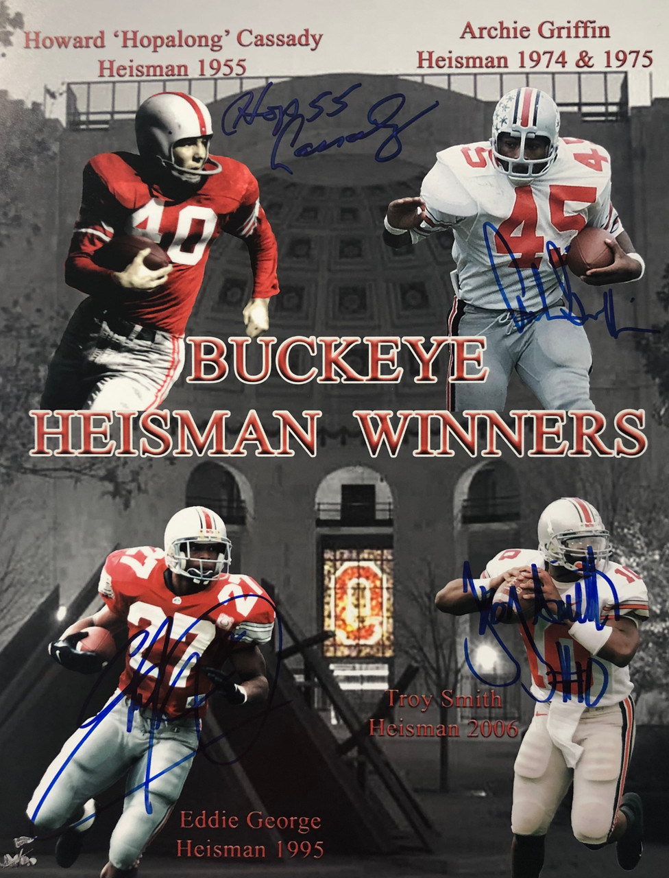 4 Heisman Winners Ohio State Buckeyes 11-1 11x14 Autographed Photo - Certified Authentic