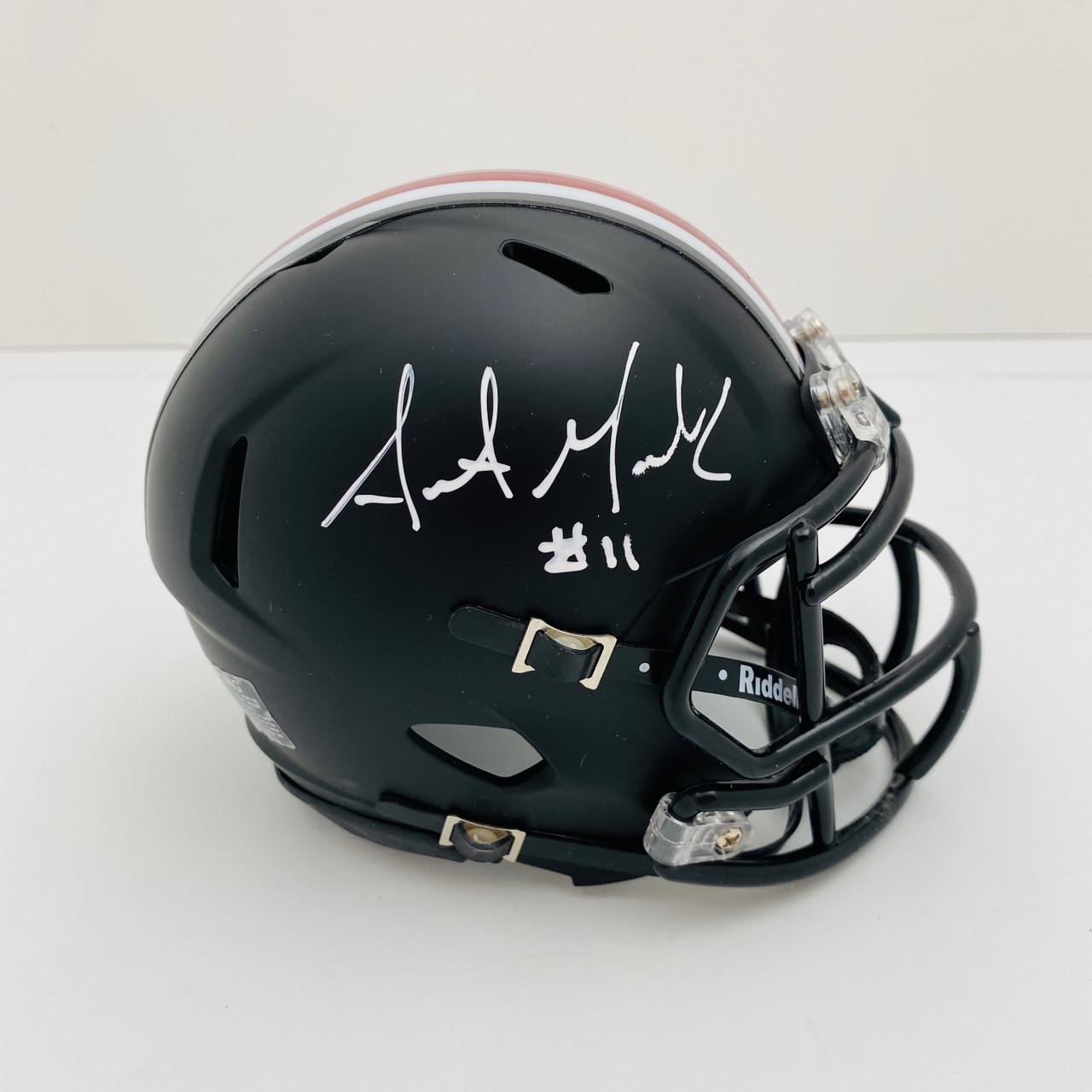 Austin Mack Ohio State Buckeyes Autographed Black Mini Helmet - Certified Authentic