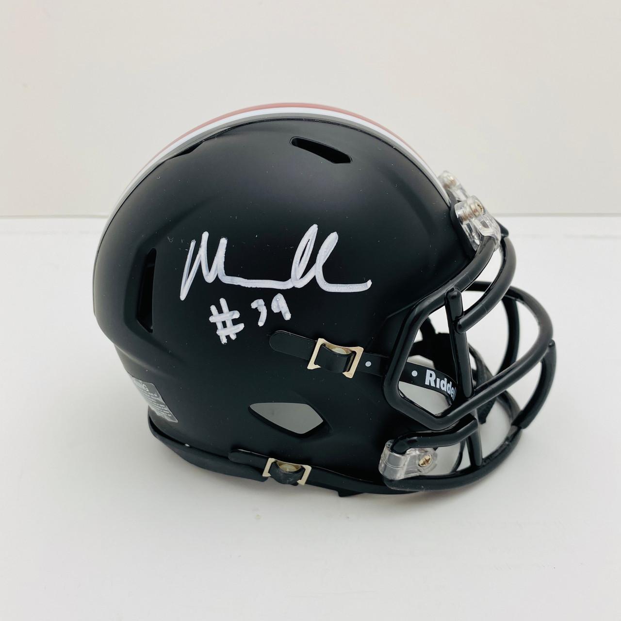 Malik Harrison Ohio State Buckeyes Autographed Black Mini Helmet - Certified Authentic