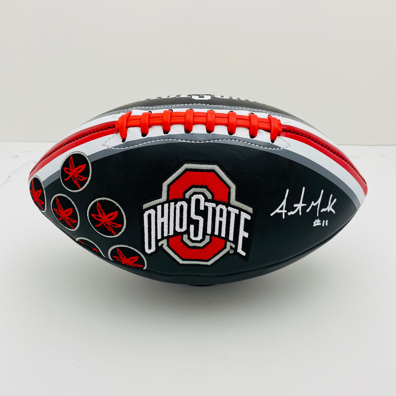 Austin Mack Ohio State Buckeyes Autographed Black Football - Certified Authentic