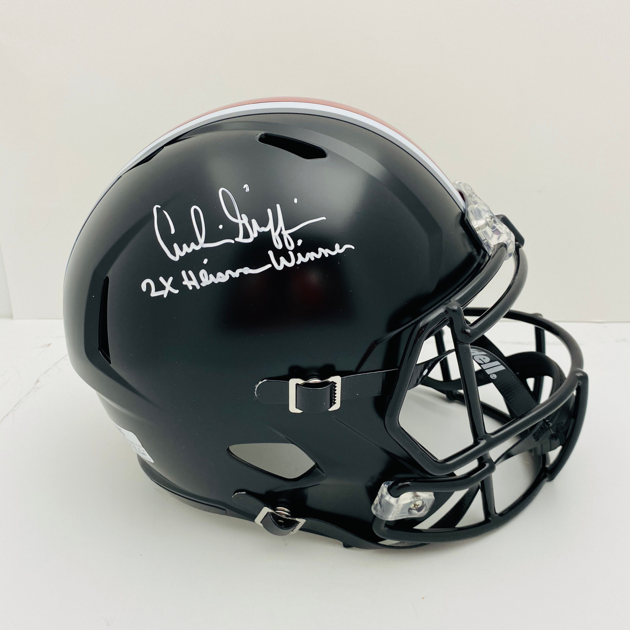 Archie Griffin Ohio State Buckeyes 'Only 2x Heisman' Autographed Black Replica Helmet - Certified Authentic