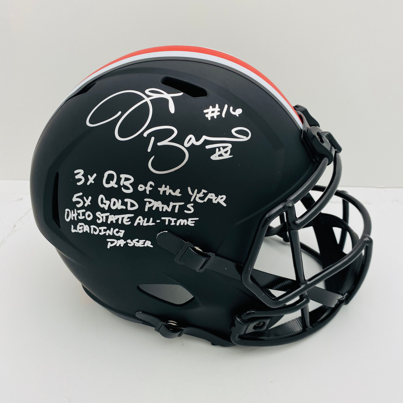 JT Barrett Ohio State Buckeyes 4 Stat Autographed Eclipse Black Replica Helmet - Barrett Authentic