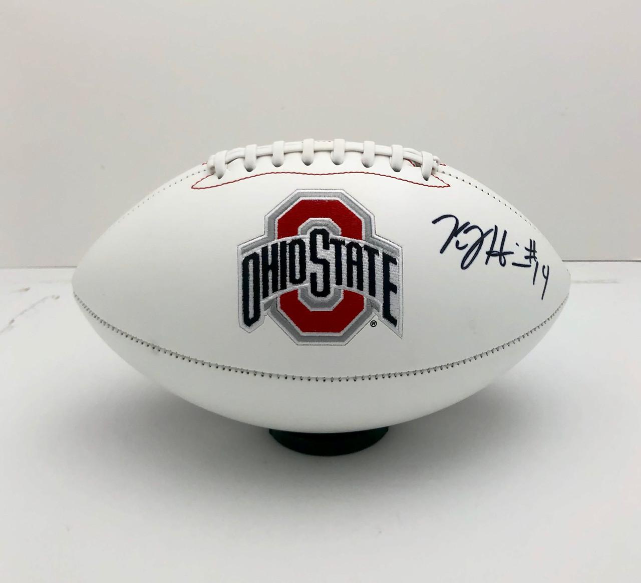 KJ Hill Ohio State Buckeyes Autographed White Panel Football - PSA Authentic