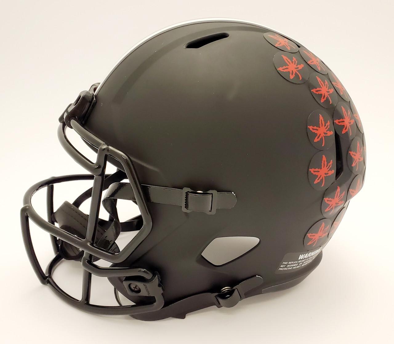 JK Dobbins Ohio State Buckeyes Autographed Black Replica Helmet (White Pen) - JSA Authentic
