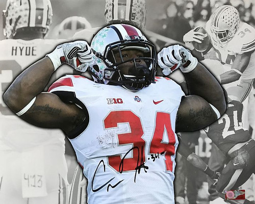Carlos Hyde OSU 16-6 16x20 Autographed Photo - Certified Authentic