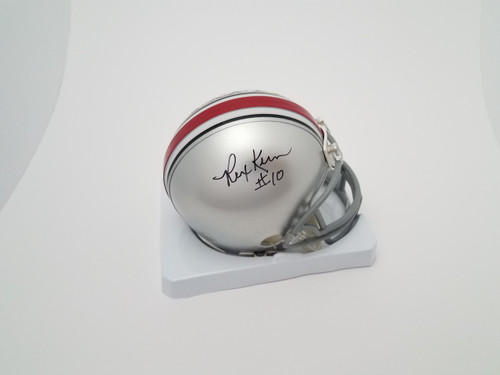 Rex Kern Autographed Silver Ohio State Buckeyes Mini Helmet - Certified Authentic