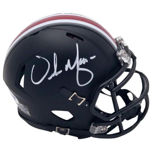 Urban Meyer Autographed Ohio State Buckeyes Riddell Black Speed Mini Helmet - PSA COA