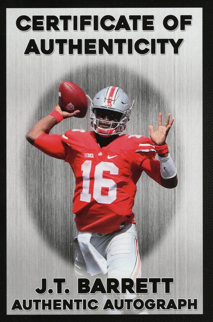 JT Barrett Autographed Ohio State Buckeyes White Panel Football - Barrett Personal COA