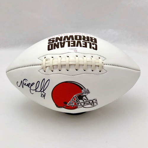 Nick Chubb Cleveland Browns Autographed White Panel Football - JSA COA