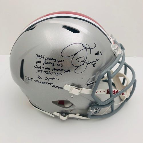 JT Barrett OSU 6 Stat Silver Autographed Authentic Helmet - Certified Authentic