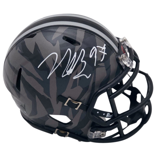 992d60d7f Nick Bosa Ohio State Buckeyes Autographed Camo Mini Helmet - Certified  Authentic