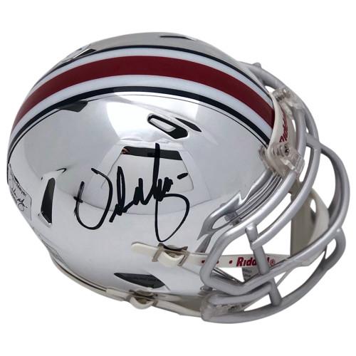 Urban Meyer Ohio State Buckeyes Autographed Chrome Mini Helmet - PSA Authentic