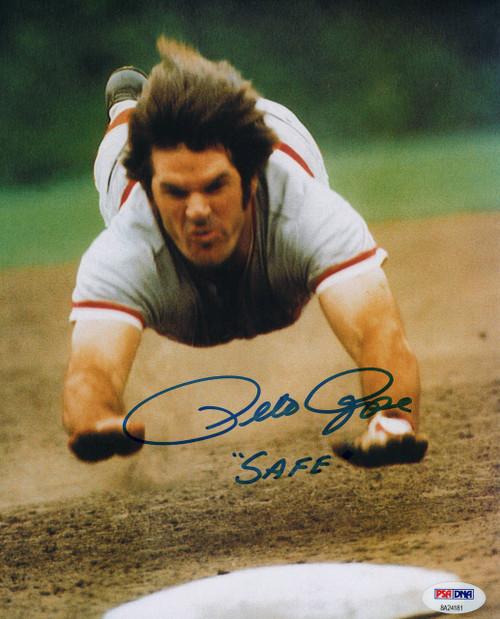 Pete Rose Cincinnati Reds 'SAFE' Inscription 8-2 8x10 Autographed Photo - PSA Authentic